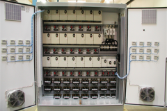 24 Toshiba VFD mounted into a NEMA 12 Enclosure. Main Disconnected, Input Reactors and Output Filters